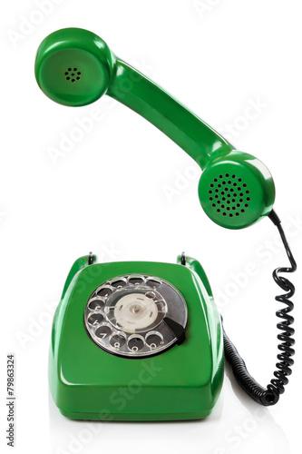 canvas print picture Green retro telephone