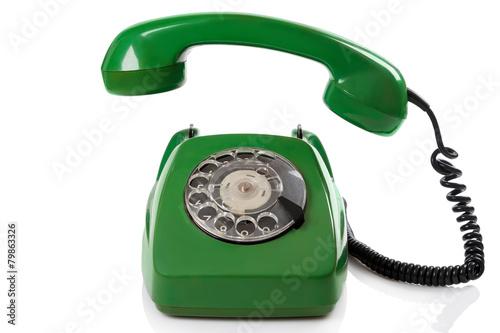 Leinwanddruck Bild Green retro telephone