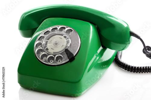 Green retro telephone - 79863329