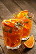 Refreshing lemonade with oranges and mint