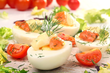 Easter eggs with mayonnaise and salmon