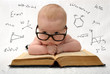 little baby in glasses with eauations around - 79864392