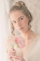 Close up Gorgeous Lady Holding Bouquet of Flowers