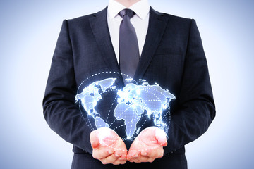 man holding digital map