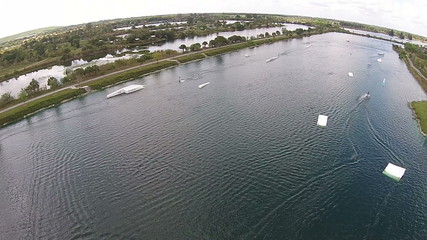 Wakeboarding on a lake in Forida aerial view