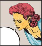 Retro woman Comic Love Vector illustration of  face