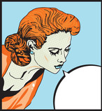 Retro woman Comic Love  illustration of  face