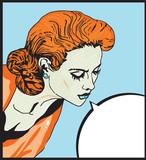 Retro woman Comic Love  illustration of  face
