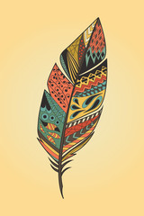 Vintage tribal ethnic hand drawn colorful feather