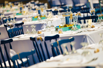 Elegant restaurant with blue seats