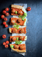 Meatballs and tomato sauce in pastry