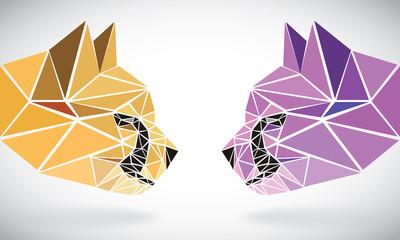 polygonal abstract geometric triangle cheetah. low poly heads