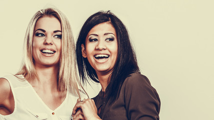 Women multiracial friends having fun