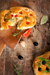Italian Focaccia Bread on rustic board