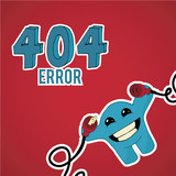 Error 404, smiling monster disconnect cables over blue color bac poster