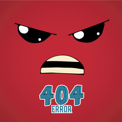 Error 404,angry face over  red color background