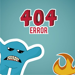 Error 404, monster and fire  on blue color background