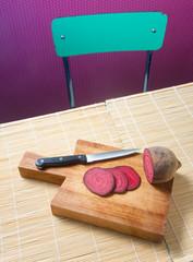 Vegan Salami, joking slices of red beet