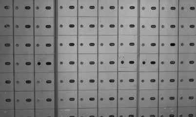 Full frame of bank lockers in locker room