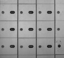 Full frame of lock boxes locker safety deposit box