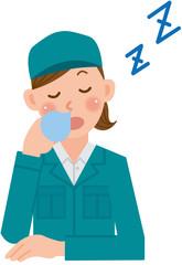 作業員 女性 居眠り
