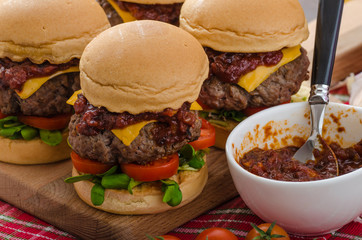 Beef Sliders with homemade barbecue sauce
