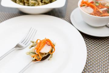 green tea Glory with shrimp Salad