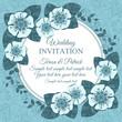 Vintage wedding invitation card, blue