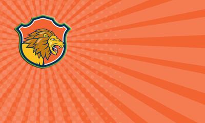 Business card Angry Lion Head Roar Shield Cartoon