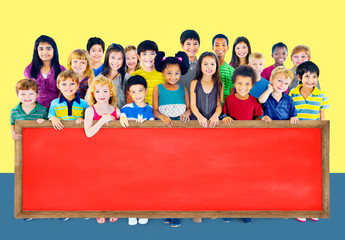 Multi-Ethnic Group of Children Holding Billboard Concept