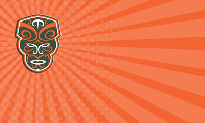 Business card Maori Mask Face Front Retro