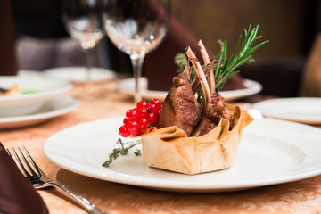 roasted rack of lamb in a restaurant