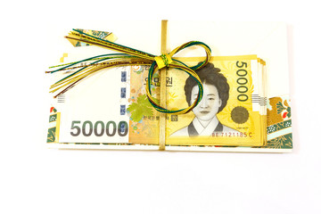 Korea money wit Gift envelope on white background