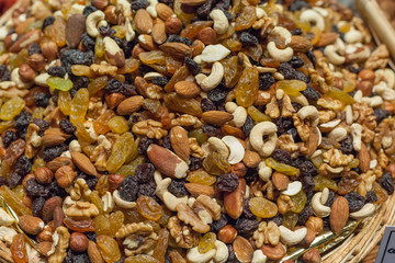 Mixture of dry fruits for sale at a market stall, La Boqueria