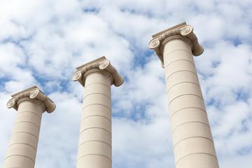 Low angle view of three Ionic columns, Barcelona, Catalonia