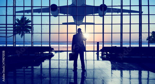 Businessman Airport Travel Waiting Trip Terminal Concept - 79870518