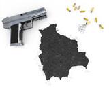 Gunpowder forming the shape of Bolivia .(series) poster