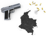 Gunpowder forming the shape of Colombia .(series) poster
