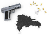 Gunpowder forming the shape of Dominican Republic .(series) poster