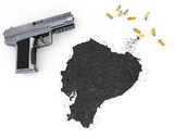 Gunpowder forming the shape of Ecuador .(series) poster