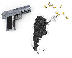 Gunpowder forming the shape of Argentina .(series)