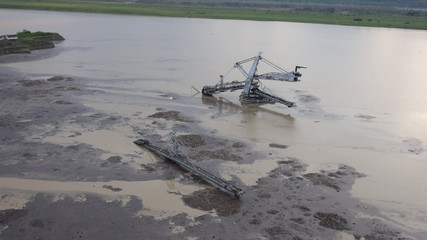 Aerial view on flooded bucket wheel excavator