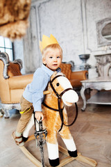 Prince cute baby smiling cheerful happy with crown horse sword