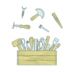 Leather craft tools in toolbox vector illustration