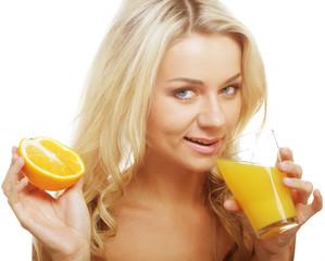 happy woman drinking orange juice.