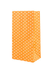 orange polka dot paper bag isolated on white