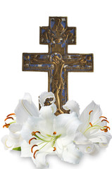 christian cross and  lily on white background