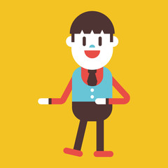 Character illustration design. Businessman joyful cartoon
