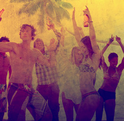 Young Adult Party Fun Freedom Beach Summer Concept