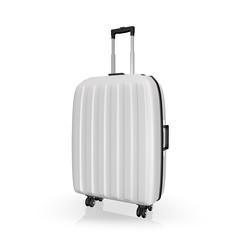 Luggage, aluminium suitcase on white isolated background